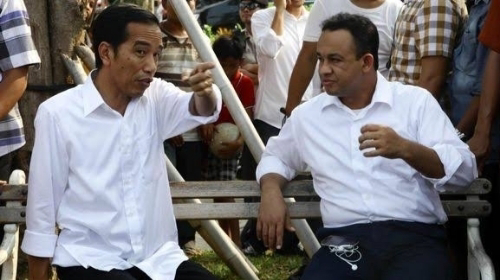 Foto Anies Baswedan dan Presiden Jokowi. Anies Jangan Nyapres Deh.