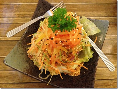 Thai papaya salad with organic tofu