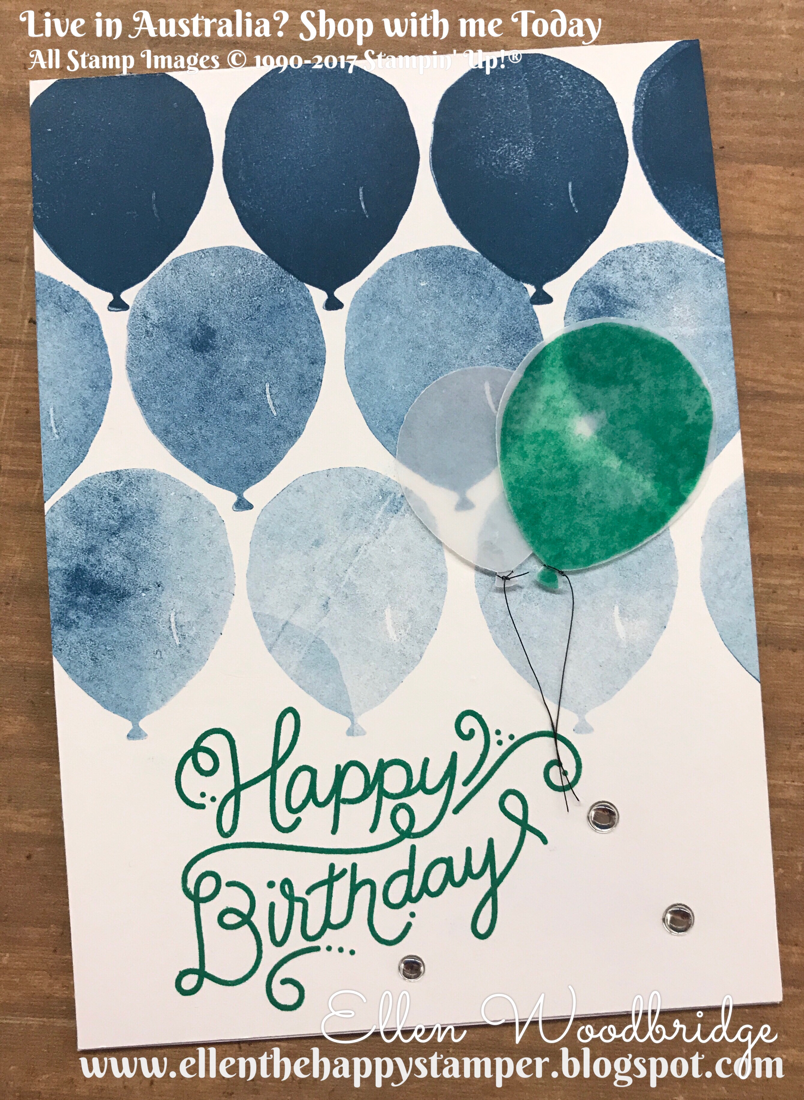 I Stamped The Solid Balloon From Celebration Stamp Set Starting With A Row Of Dapper Denim Ink Balloons Thick Whisper White Card Base