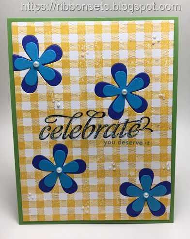 Celebrate card with gingham background and die cut flowers and pearls