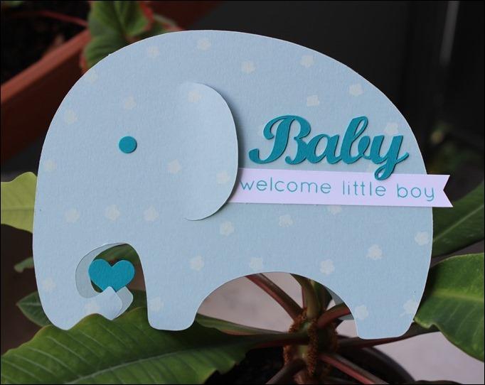 Baby Karte Elefant Geburt Blau