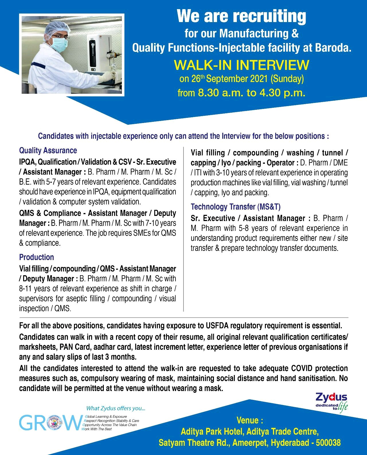 Walk-In By Zydus For QA, Production & Technology Transfer Department