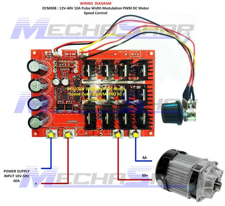 ดิมเมอร์ ควบคุมความเร็วมอเตอร์ดีซี Dc10 50v 3000w 60a Dc