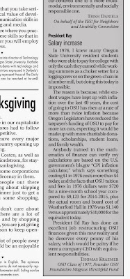Thomas Kraemer letter Ed Ray's salary Barometer Nov. 3, 2014, p. 7