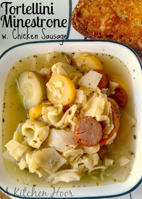 A Kitchen Hoor's Adventures | Tortellini Minestrone with Chicken Sausage #SlowCooker #Recipe