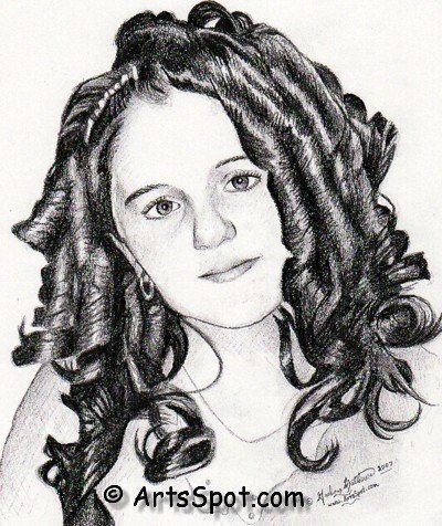 Hair Curls Drawing Portrait Art