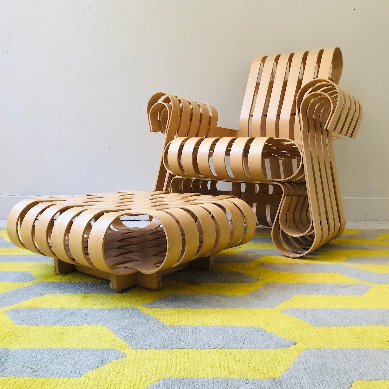Frank Gehry Chaise Carton frank gehry + knoll power play chair and ottoman