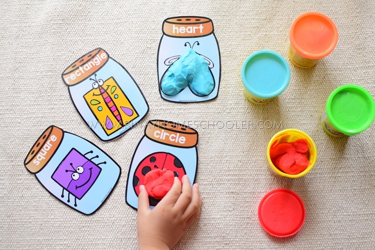 Insect Themed Shapes Playdough Mats