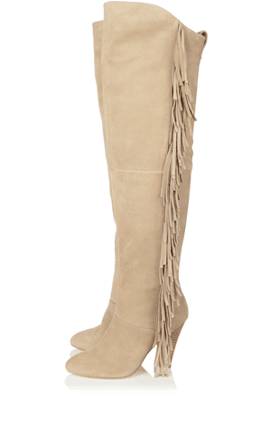 Beige fringed knee high boots by Karen Millen