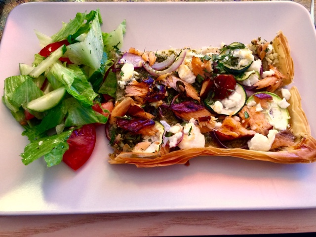 Dill pesto, courgette, smoked salmon and feta filo tart