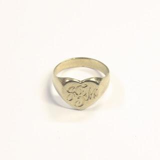 14K Gold Heart Signet Ring