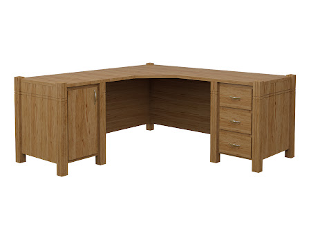 Phoenix L-Shaped Desk in Classical Maple