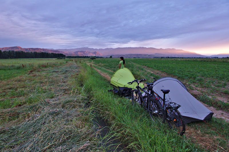 The first night's camping spot with a sunset which reminded us why we love bike touring.