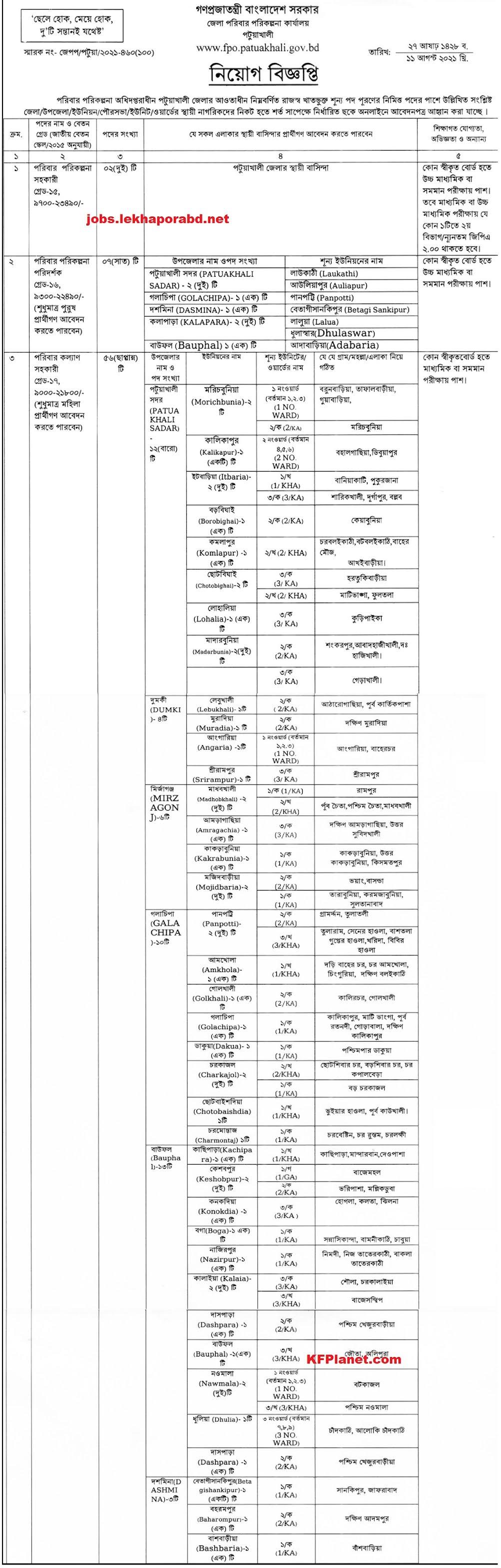 পটুয়াখালী জেলা পরিবার পরিকল্পনা নিয়োগ বিজ্ঞপ্তি ২০২১ - Patuakhali Family Planning Job Circular 2021 - Family Planning Recruitment Circular 2021