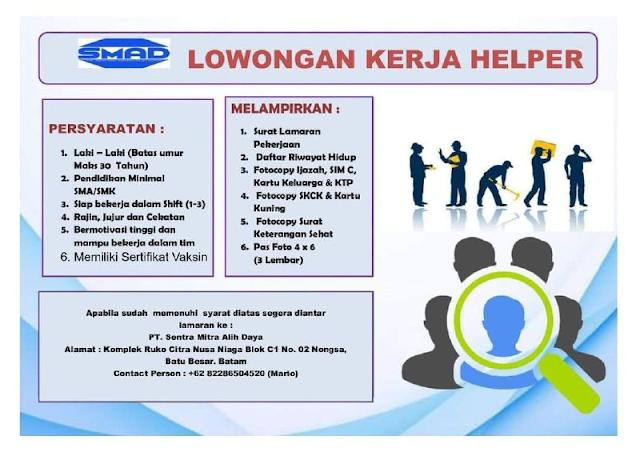 Dibutuhkan Helper PT Sentra Mitra Alih Daya