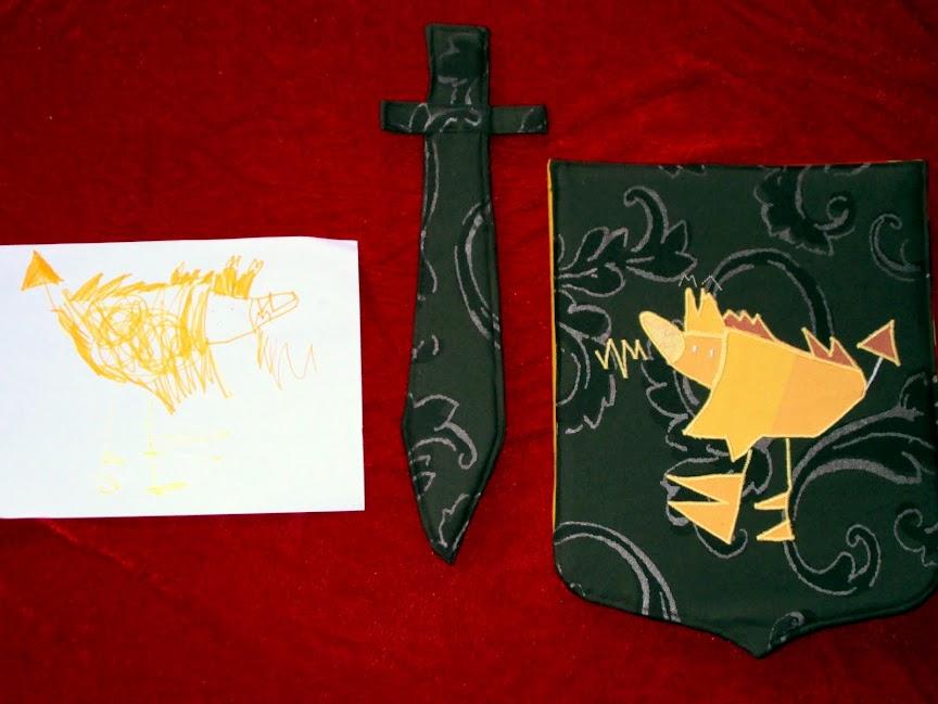 Draak, schild en zwaard