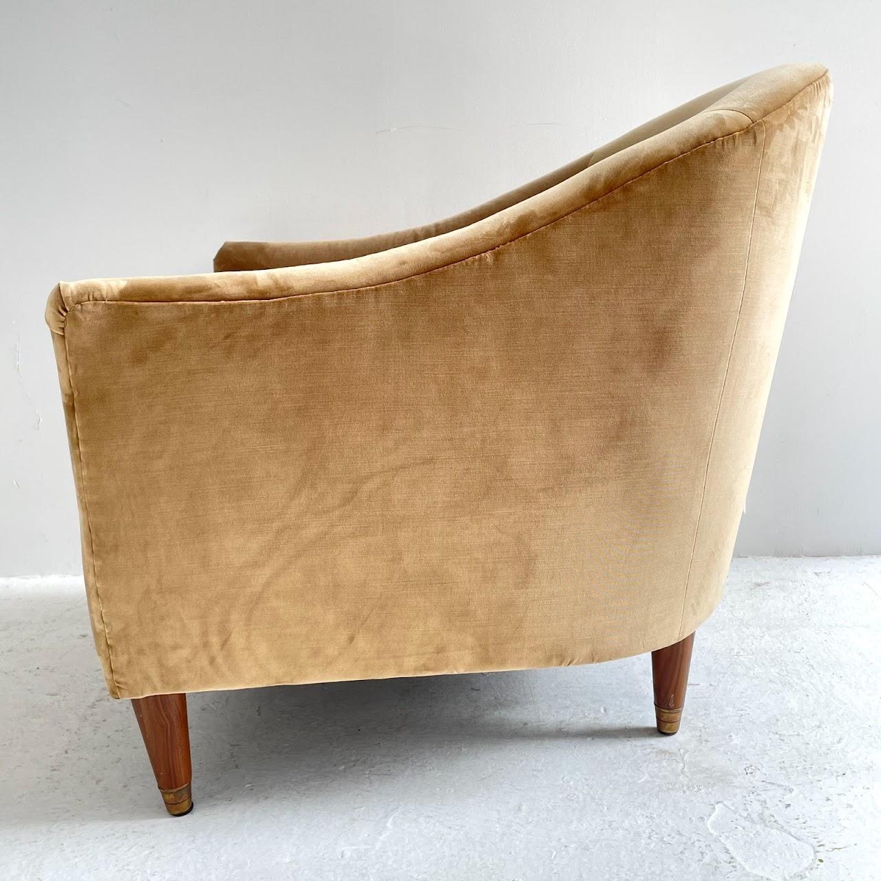 Velvet Upholstered Shelter Back Chair