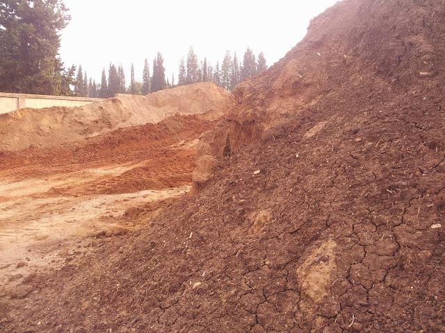 ערימות שונות של אדמה. הסדקים בערימת האדמה הקרובה, מרמזים על ריכוז חרסית יחסית גבוהה.