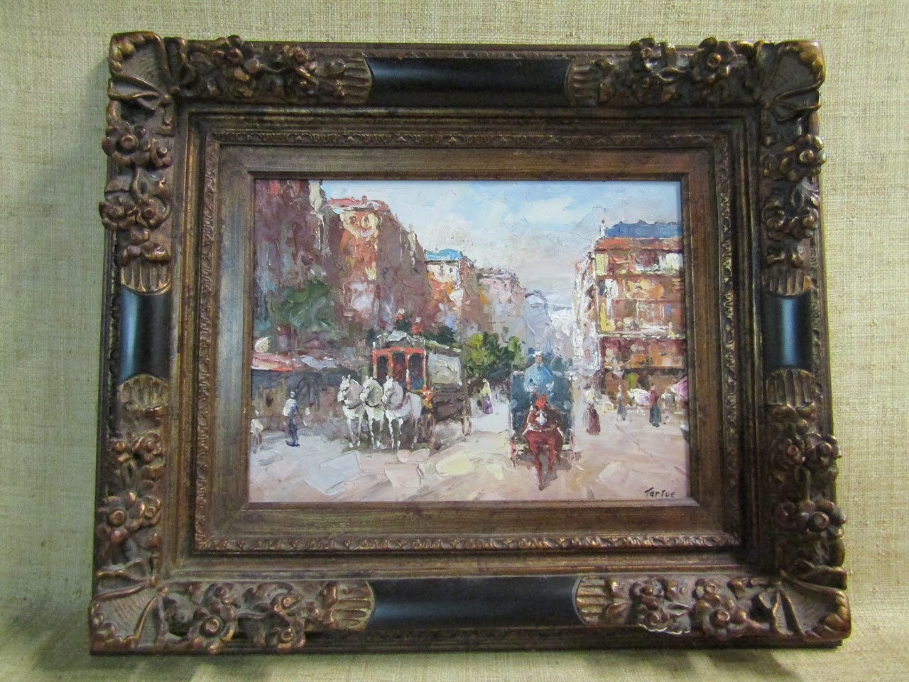 Signed City Square Painting by Tartue