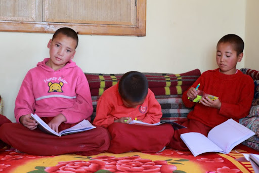 Young nuns at Gephel Shadrubling Nunnery, Ladakh, India, June 2012. Photo by Marlies Bosch.