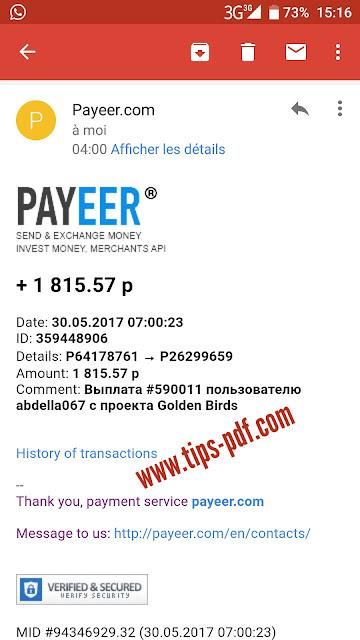 اتبات سحب جديد بقيمة 30$ دولار من موقع التعدين الروسي كولدن بيرد