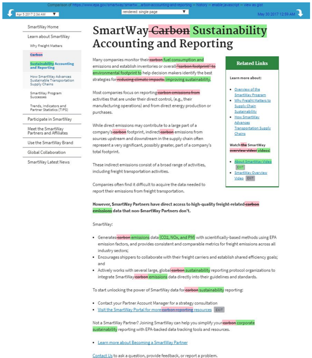 Edits to the landing page of the EPA's SmartWay Program, reducing the emphasis on climate change. Graphic: EDGI / EPA