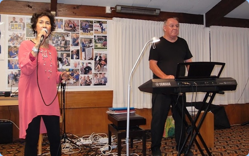 Jill and Joe Fingers were our guest artists for the evening. Joe played the Bowling Club's piano and his Yamaha PSR-S970. Jill provided the vocals to some songs in both English and Mandarin. Photo courtesy of Dennis Lyons.
