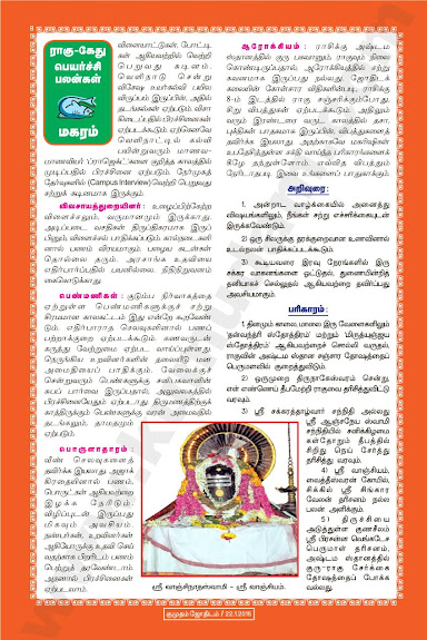 Complete and Full Rahu Kethu Peyarchi Palangal - Makaram