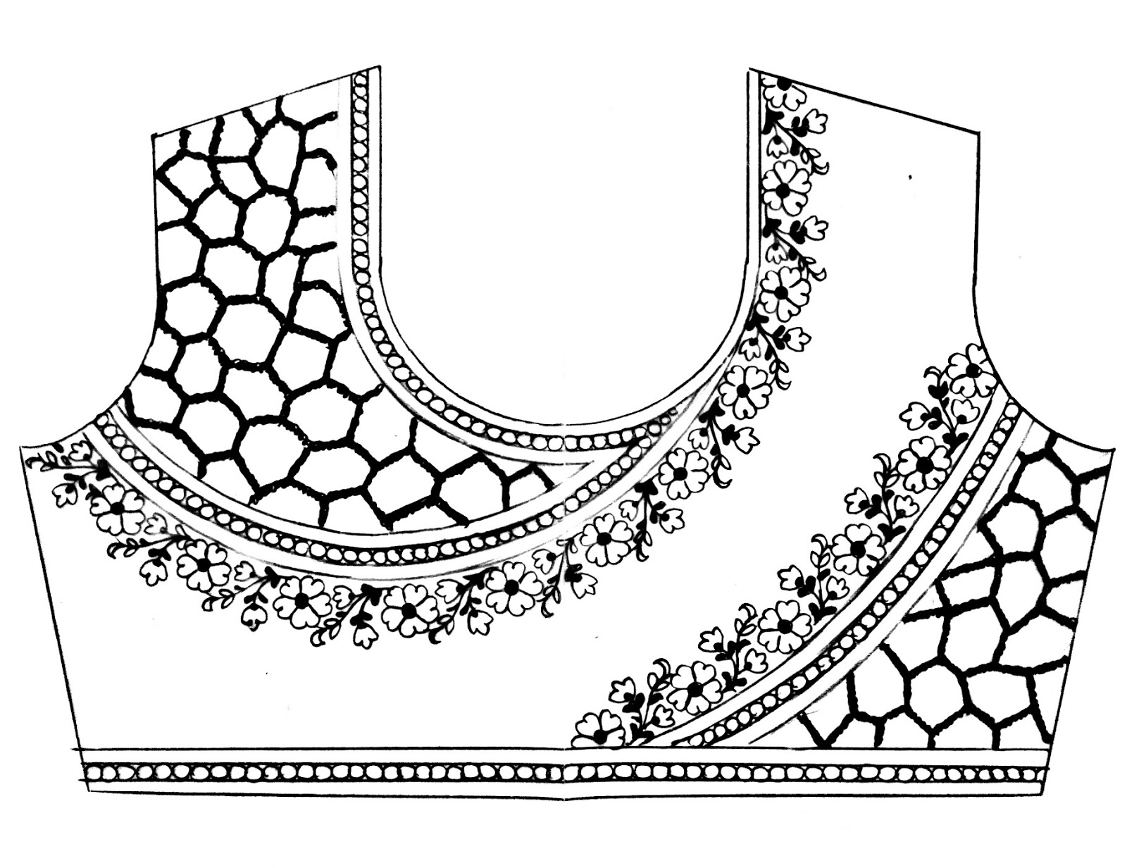 Maggam work blouse embroidery and machine emroidery design Drawing/saree blouse design sketch/free emroidery design download.