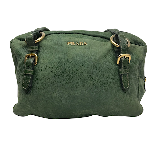 Prada Green Leather Shoulder Bag