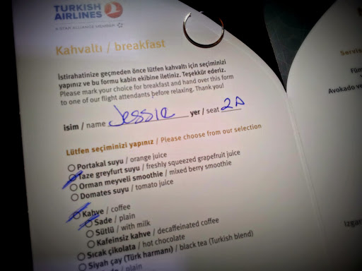 Perusing the menu... From What's It Really Like to Fly Turkish Airlines Business Class?