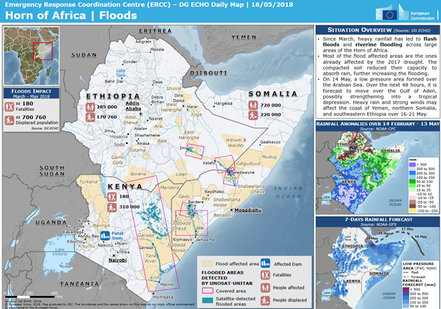 Map of the flood situation in the Horn of Africa, 16 May 2018. Graphic: European Commission's Directorate-General for European Civil Protection and Humanitarian Aid Operations