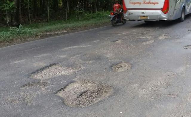 Jalan Ngawi-Solo Dipenuhi lubang-lubang dengan kedalaman dan lebar bervariasi