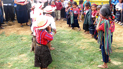 6 and 7 year old children dancing at opening ceremony Sienna Project 2011 Guatemala trip to help build school in Palanquix, Solala, Guatemala. Photos by TOM HART