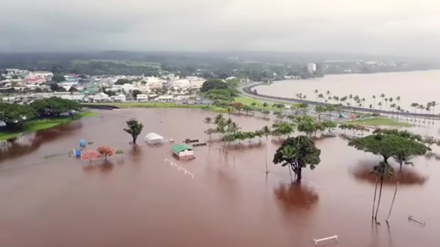Aerial view of flooding in Downtown Hilo, Hawaii, caused by Hurrican Lane, 23 August 2018. Photo: Jonathan T. Correa / Instagram