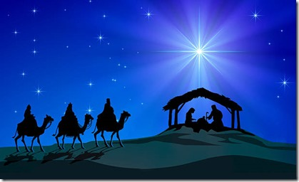 Representation of Christmas Nativity scene. Holy Family figurines are under a hut and three Wise Men on camels figurines coming in the desert, in silhouette style. In the background, blue starly sky and intense rays of light coming from the Comet Star. XXXL concept image image.