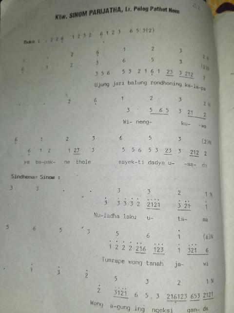 Notasi Dan Cakepan ( Lirik ) Ketawang Sinom Parijatha laras Pelog Pathet Nem