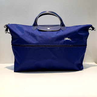 "Longchamp Cobalt Blue ""Extensible"" Le Pliage Travel Bag"