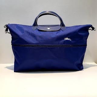 """Longchamp Cobalt Blue """"Extensible"""" Le Pliage Travel Bag"""