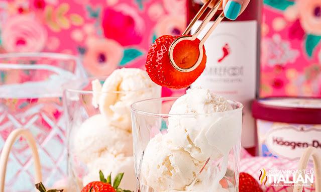 Wine Ice Cream Float adding strawberries