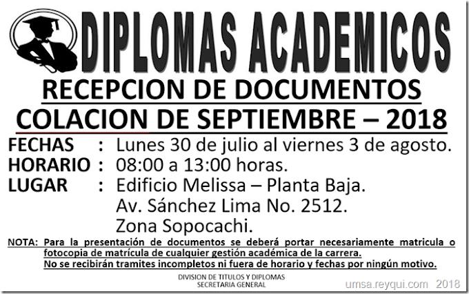 UMSA: Recepción de documentos para la Colación de Grado de septiembre 2018