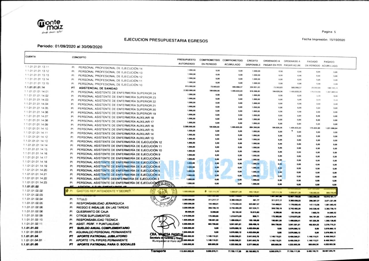 Documentación que indica el Pago de Representación, esta seleccionado en amarillo