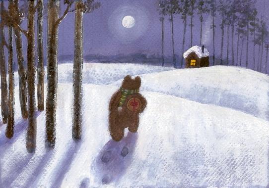 снег луна мишка акрил