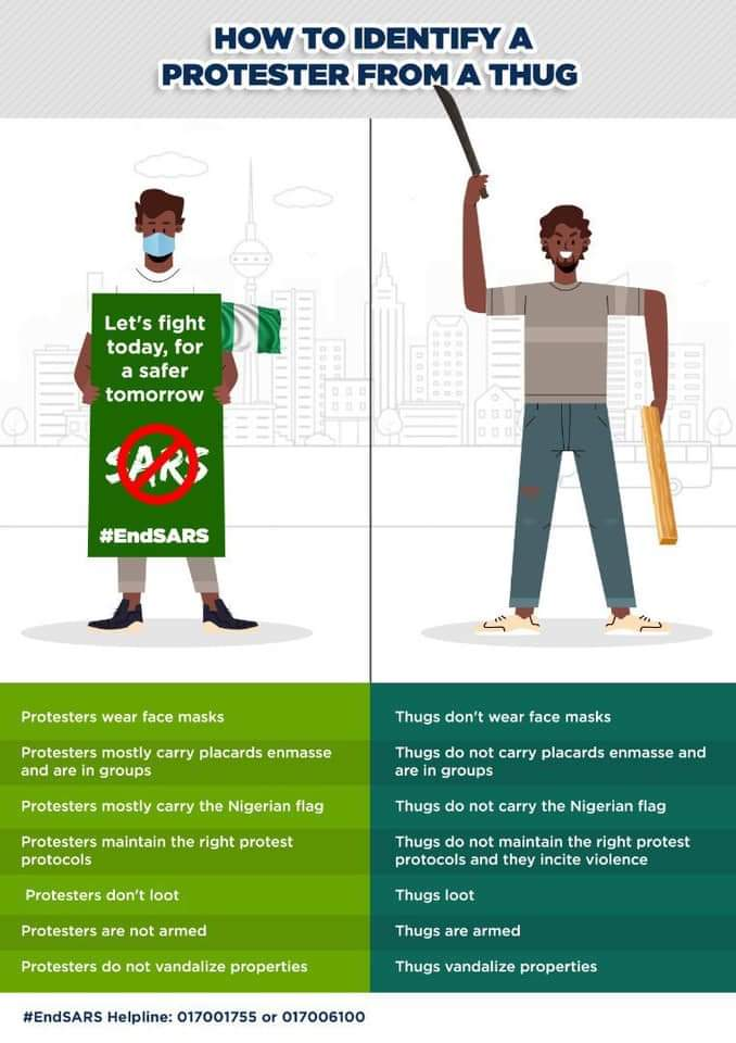 How to Identify A Protester From a Thug  Nigeria Youth please watch out and stay Safe..  #endsars