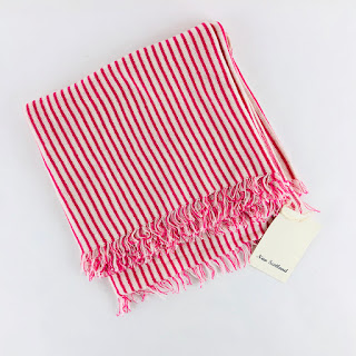 John Derian Pink/White Striped Scarf