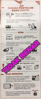 Berhubung dengan laporan media tentang 'electronic pick-pocketing' bagi kad tanpa sentuhan, Bank Negara Malaysia ingin menegaskan bahawa laporan ini adalah tidak benar