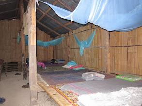 Photo: Inside our bamboo hut for the third night