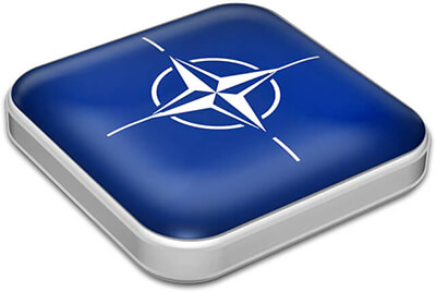 Flag of NATO with metallic square frame