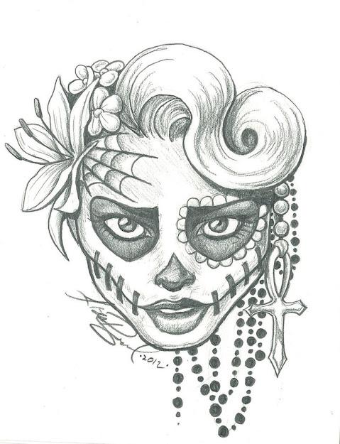 Sugar Skull Lady Drawing  Sugar Skull Two By Leelab On Deviantart   Kootation