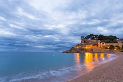 Tossa del Mar castle at night